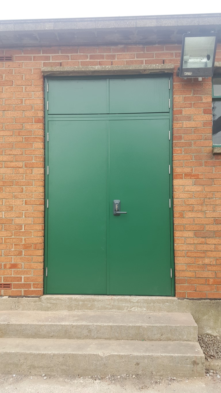 Green steel fire door